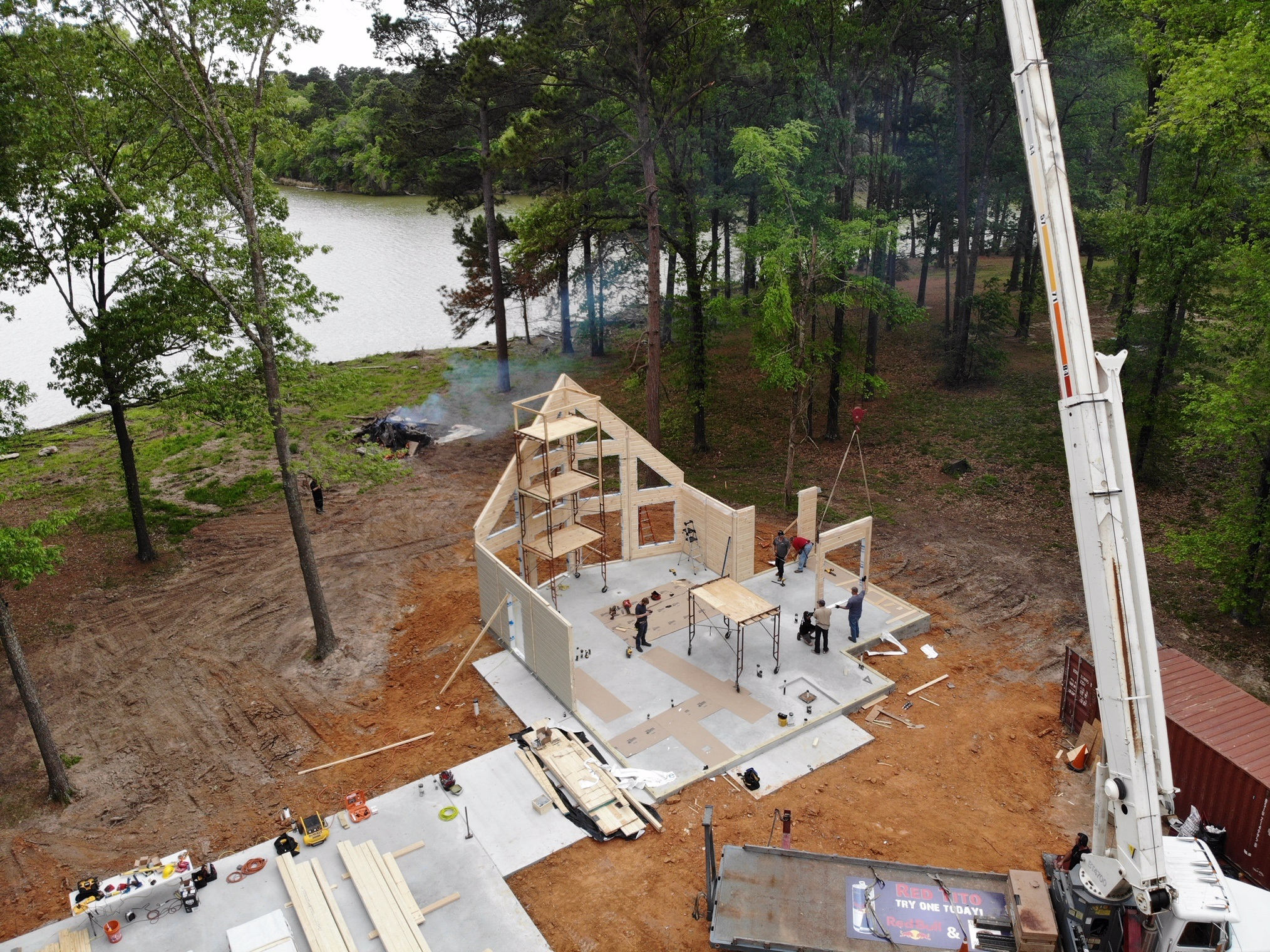 Timber Block lakefront wall raising