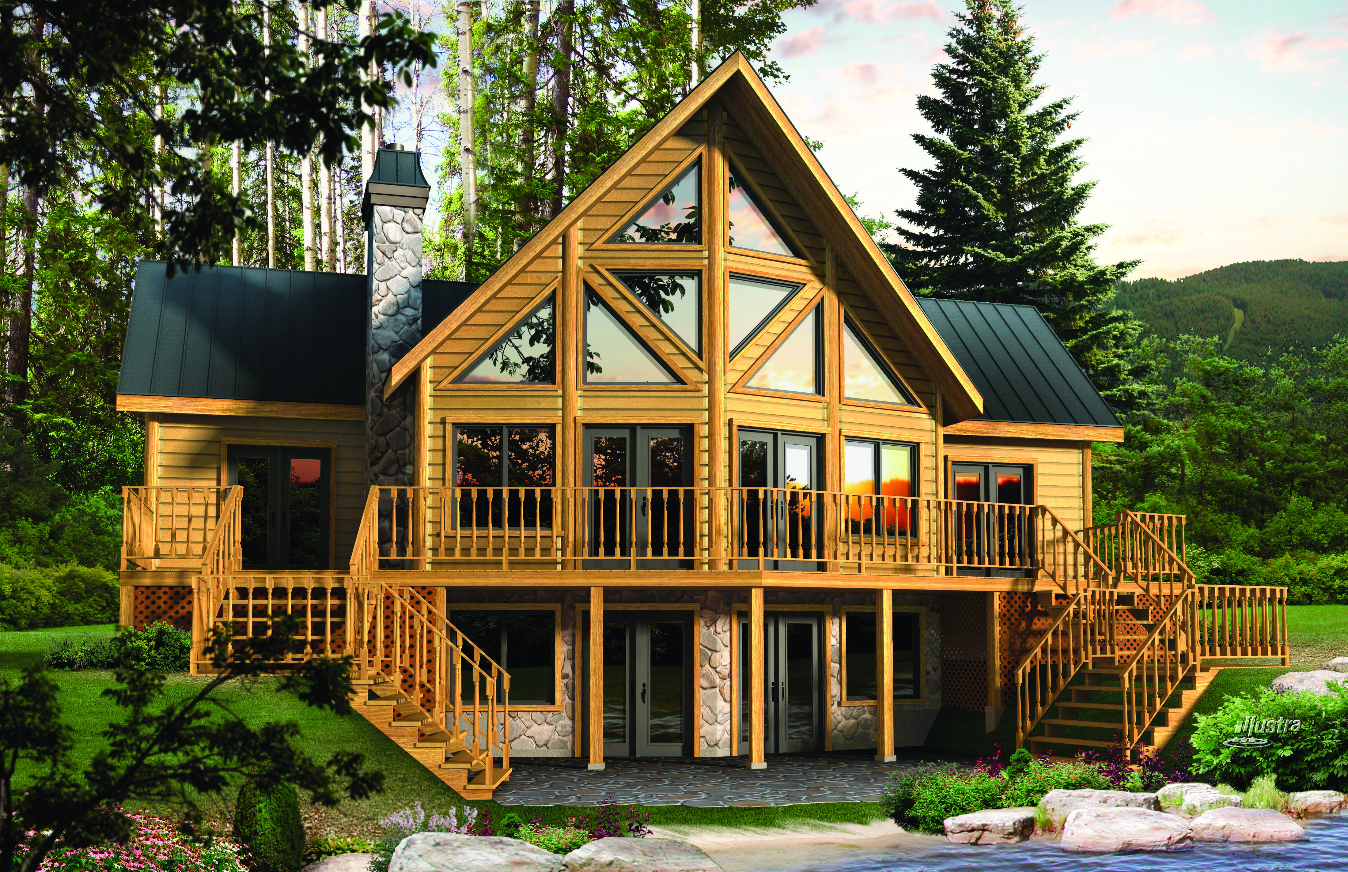 timber block home building log
