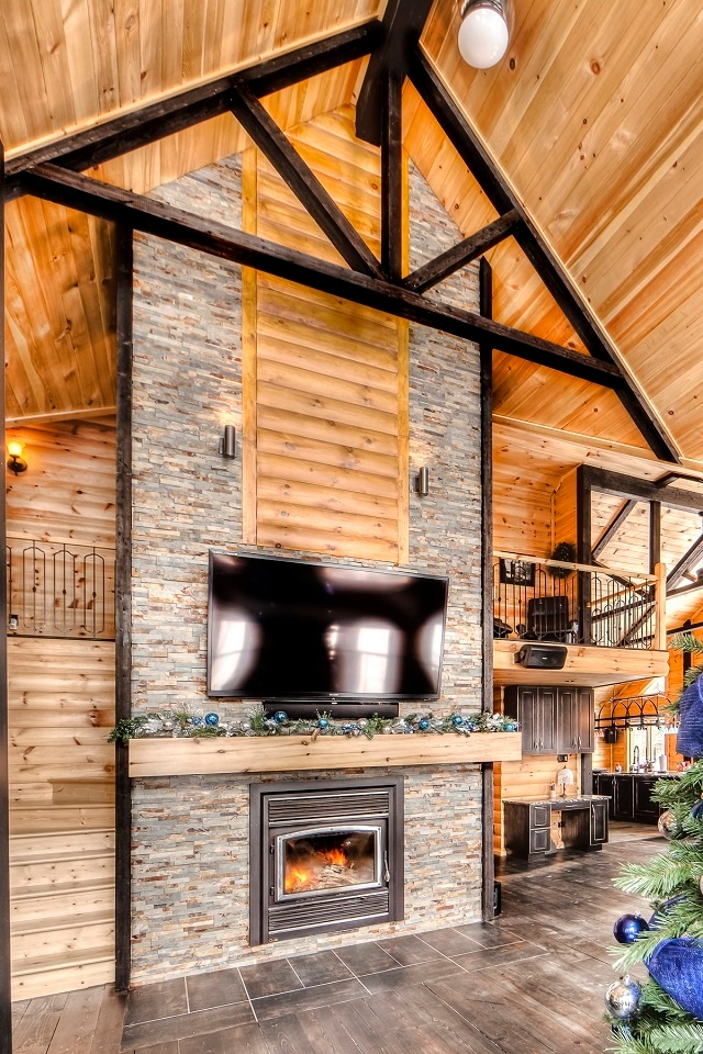 Timber Block Fireplace Design Home