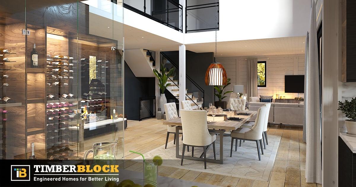 Timber Block interior custom living room