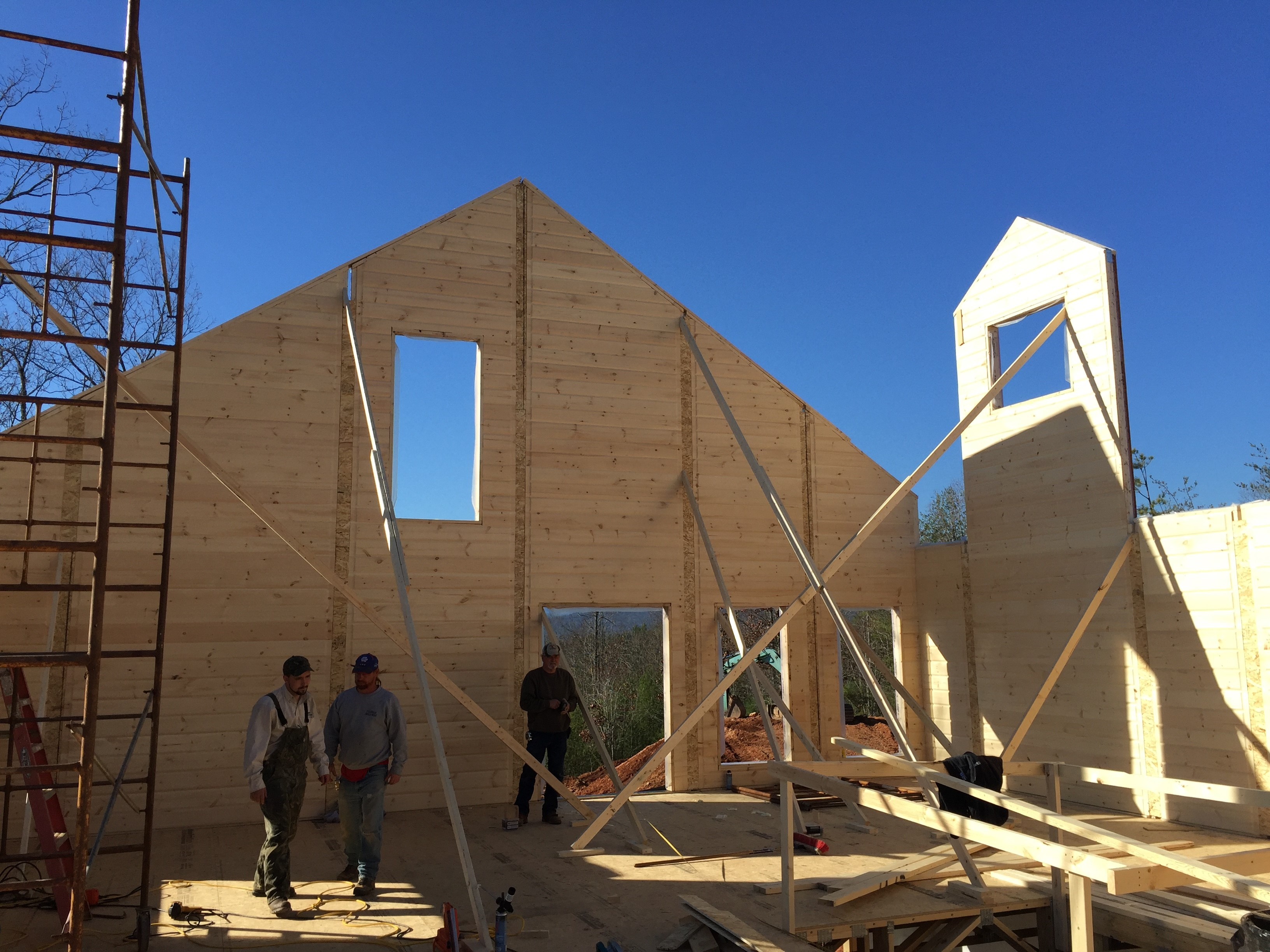 Timber Block wall raising construction