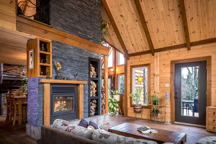 Timber Block wood homes double fireplace