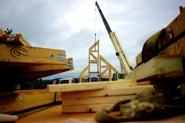 Timber Block Construction Wall Raising