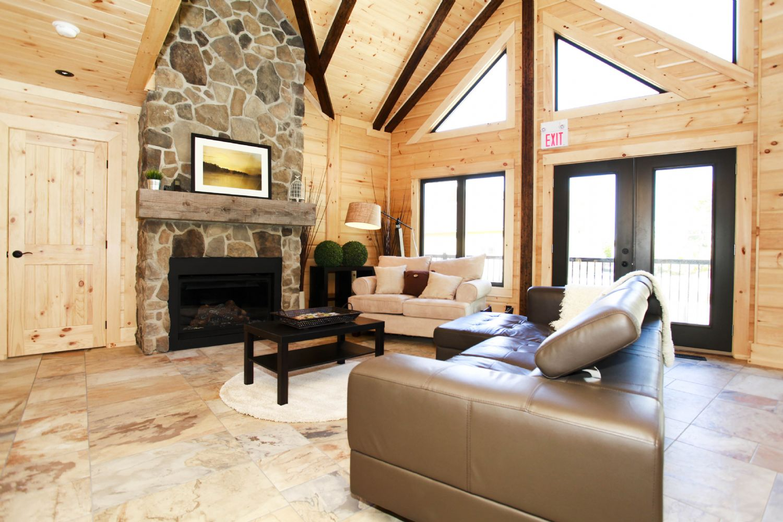 Timber Block Labrador living room