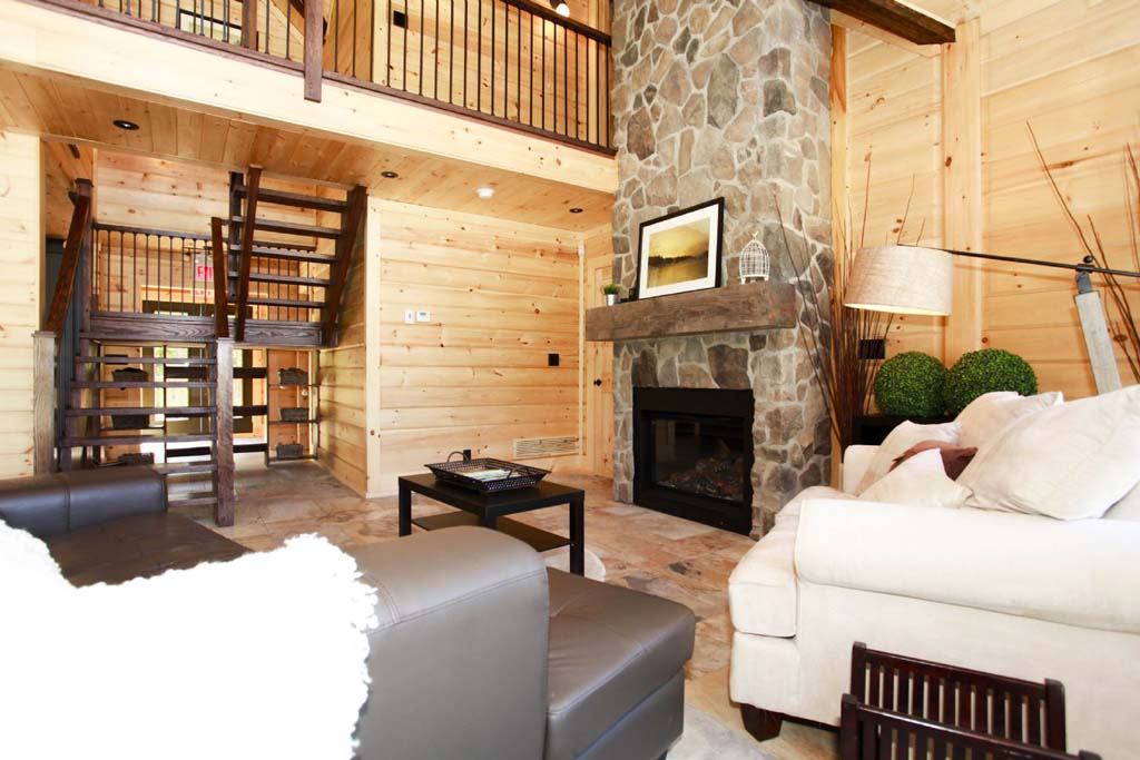 Living room timber block home