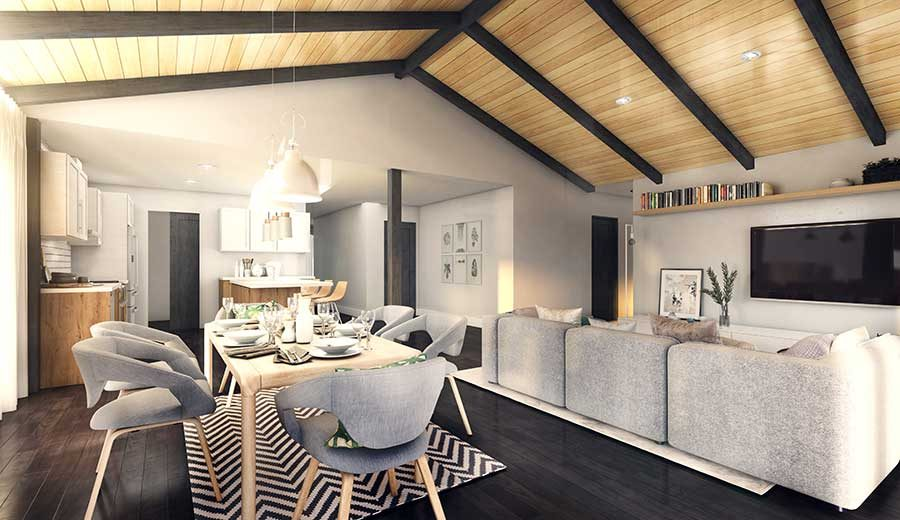 Timber Block interior living room - the Aster