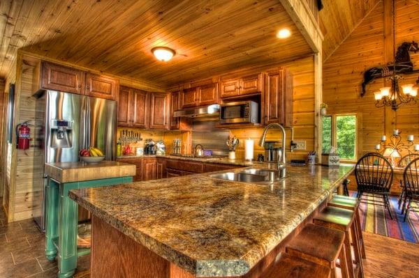 Timber Block island kitchen
