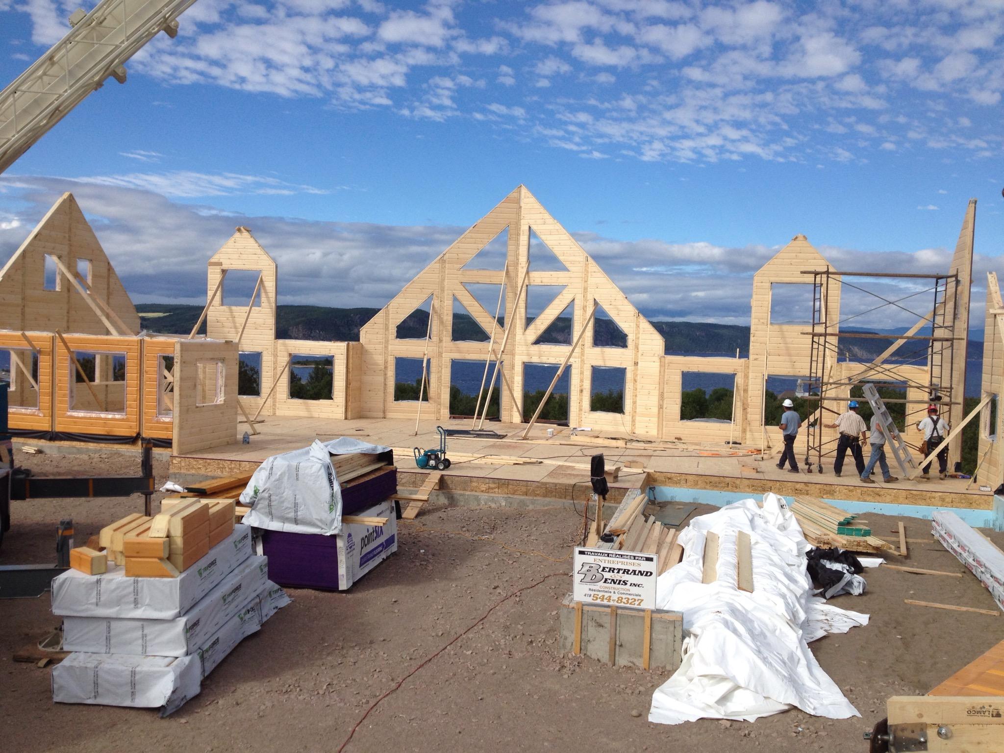 Timber Block building construction wall raising