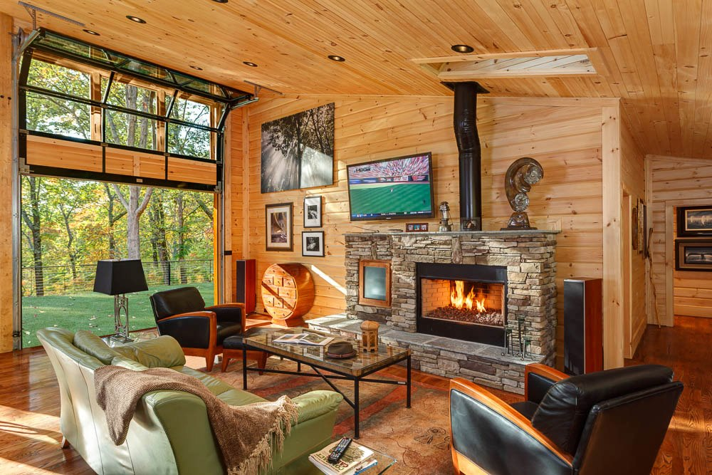 Timber Block homes modern fireplace