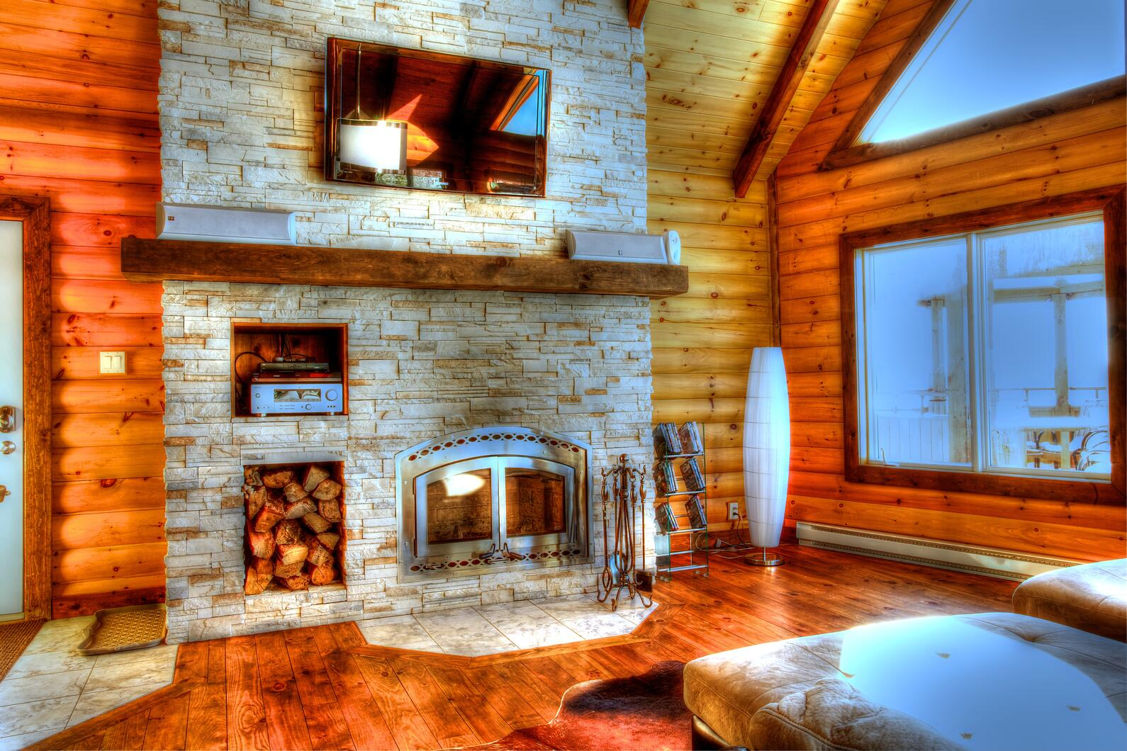 Timber Block log home fireplace design