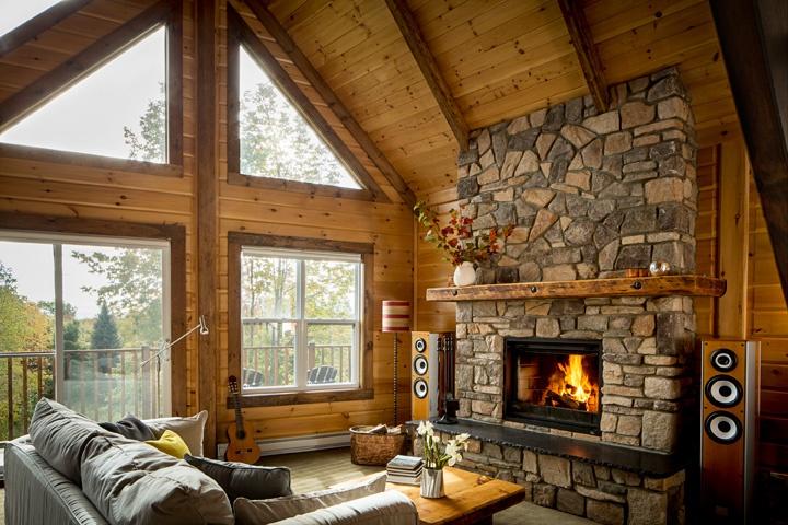 Timber Block interior fireplace