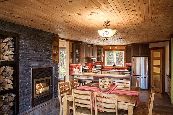 Timber Block kitchen and fireplace