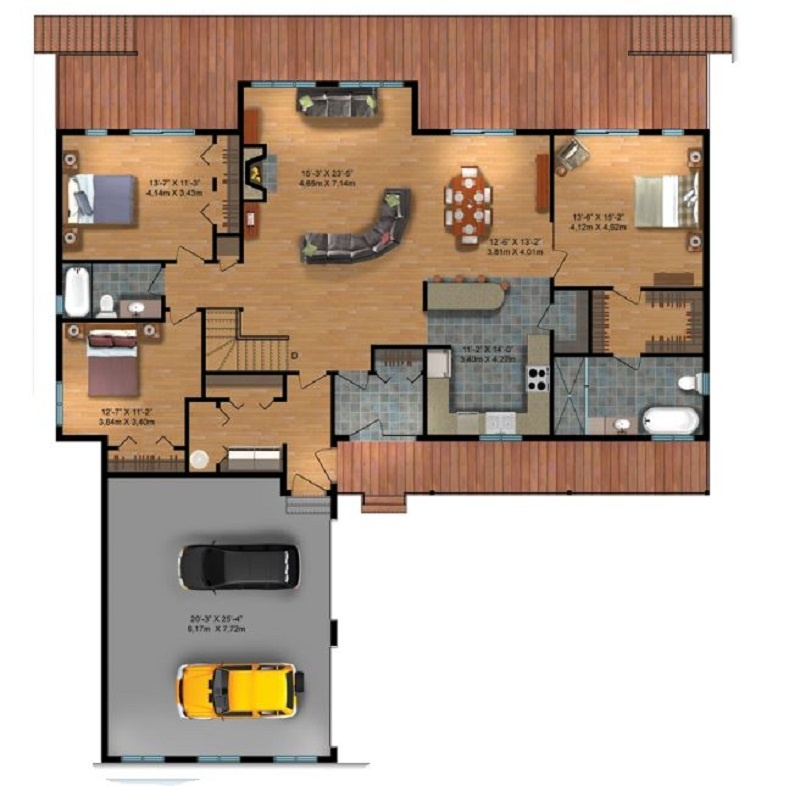 TImber Block Building One Level Home