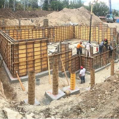 Timber Block custom home foundation