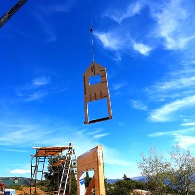 Timber Block wall raising crane