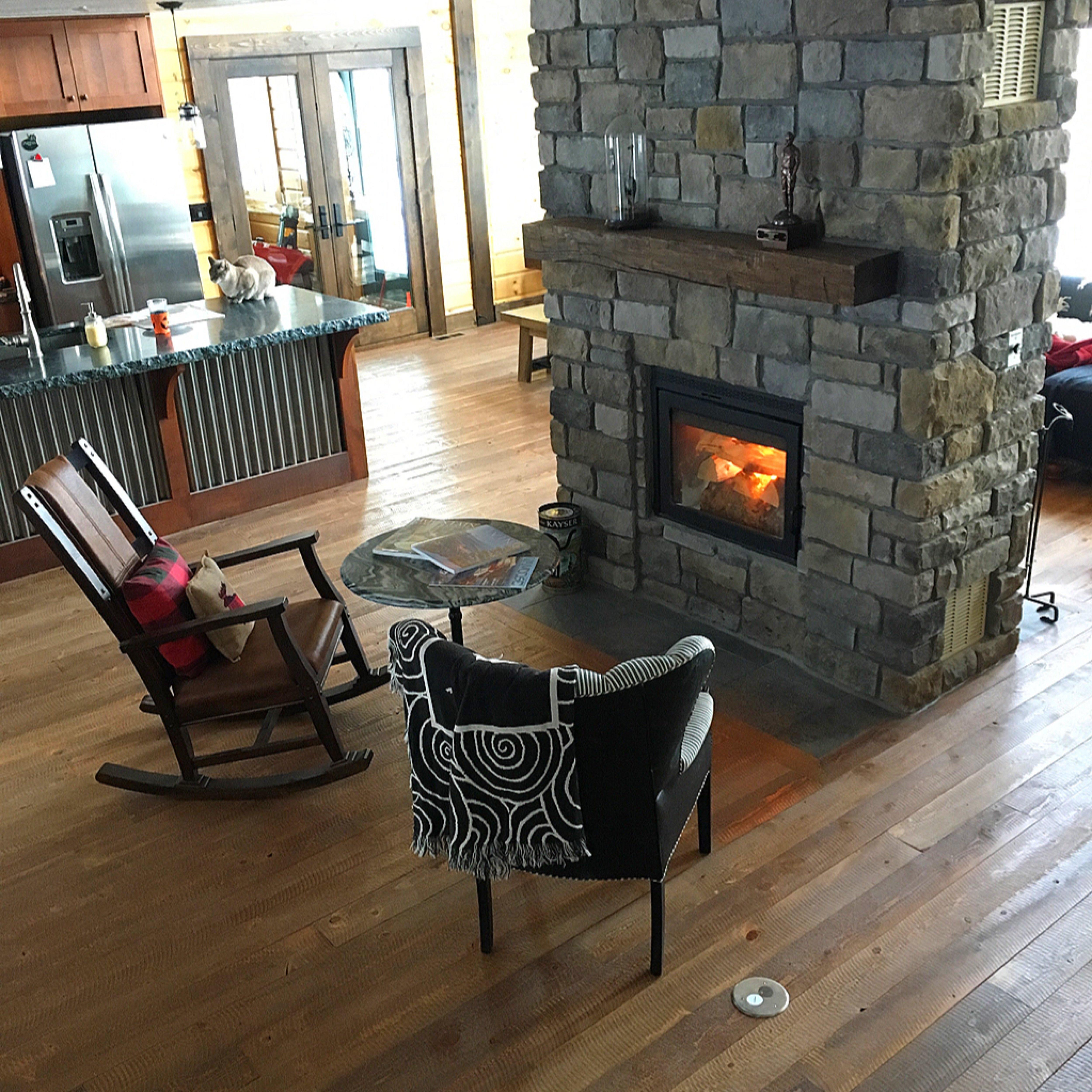 Timber Block custom brick fireplace
